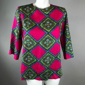 Tops - Vtg 70s Barkcloth Neon Pink Top Barkcloth Tunic